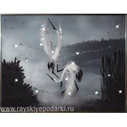 "Картина из кристаллов Swarovski ""Танец журавлей"""