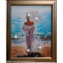"""Картина из кристаллов Swarovski """"Влюбленная в море"""""""