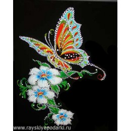 "Картина из кристалов Swarovski ""Бабочка и белые цветы"""