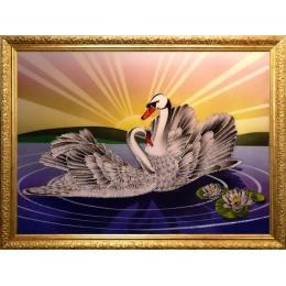 """Картина Swarovski """"Лебединый рассвет"""""""