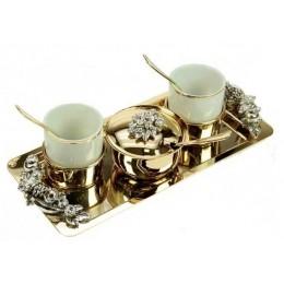 """Кофейный набор с прямоугольным подносом Chinelli """"You and Me"""" (золото)"""