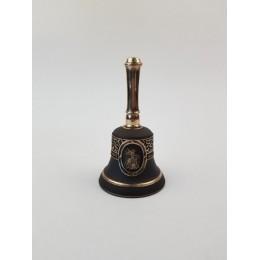 """Колокол бронзовый """"Георгий Победоносец"""" с ручкой d7 см, 0.4 кг."""