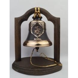 """Колокол бронзовый на подставке """"Георгий Победоносец"""" d12 см, 1 кг"""