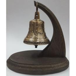 """Колокол бронзовый на подставке """"Новогодний"""" d7,5 см, 0,3 кг"""