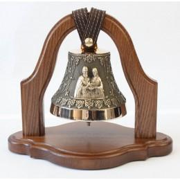 """Колокол бронзовый на подставке """"Св. Петр и Феврония"""" (свадебный колокол) d12 см, 1 кг"""