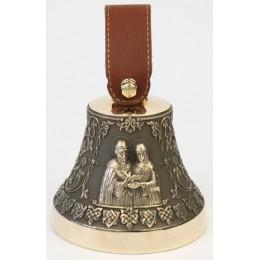 """Колокол бронзовый """"Св. Петр и Феврония"""" (свадебный колокол) d12 см, 1 кг"""
