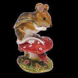 """Шкатулка для ювелирных украшений """"Мышка"""" со стразами 4.5*4*7 см"""