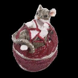 """Шкатулка для ювелирных украшений """"Мышка"""" со стразами 5,2*4,3*5,5 см"""