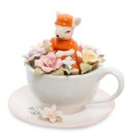 """Статуэтка """"Мышка в цветочной чашке"""""""