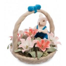 """Статуэтка """"Мышонок с цветочной корзинкой"""""""