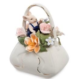 """Статуэтка """"Мышонок с сумкой цветов"""""""