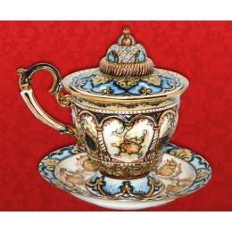 """Подарочный цветной фарфоровый сувенир с золотом """"Чайная пара с крышкой"""""""