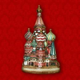 """Подарочный цветной штоф с золотом """"Храм Василия Блаженного"""", 0,7 л"""