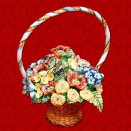 """Подарочный цветной штоф с золотом """"Корзина с цветами"""""""