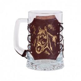 """Кружка для пива в оплетке из натуральной кожи """"Pony"""""""