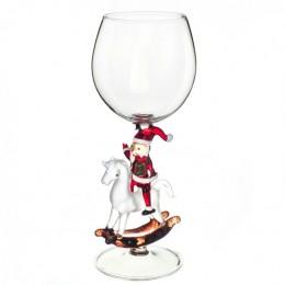 """Дизайнерский бокал для вина """"Дед Мороз на лошадке"""", 350мл"""