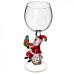 "Дизайнерский бокал для вина ""Дед Мороз на трубе"", 350мл"