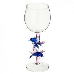 """Дизайнерский бокал для вина """"Дельфины в море"""", 350мл"""