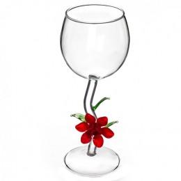 """Дизайнерский бокал для вина """"Красный цветок"""", 350мл"""