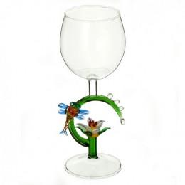 """Дизайнерский бокал для вина """"Лотос и стрекоза"""", 350мл"""