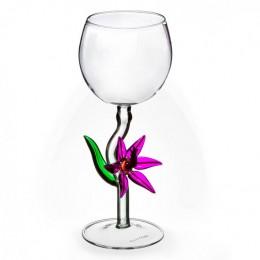 "Дизайнерский бокал для вина ""Синий цветок"", 350мл"