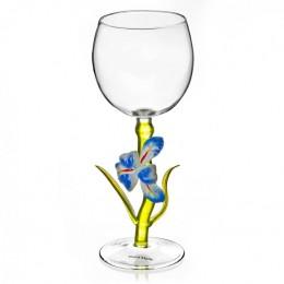 "Дизайнерский бокал для вина ""Синий ирис"", 350мл"