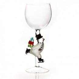 """Дизайнерский бокал для вина """"Снеговик с подарками"""", 350мл"""