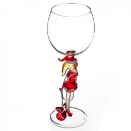 """Дизайнерский бокал для вина """"Снегурочка с подарком"""", 350мл"""