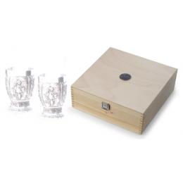 """Набор бокалов для вина с оловянным декором в деревянном кейсе """"Weinlese"""" выс.11,5см"""