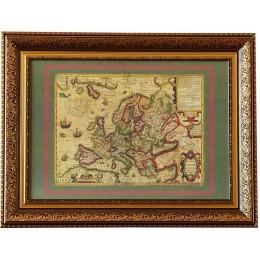 """Старинная карта """"Новая Европа"""", 17 век."""