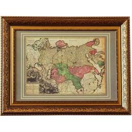 """Старинная карта в багете """"Великая Россия"""", 1730 г."""