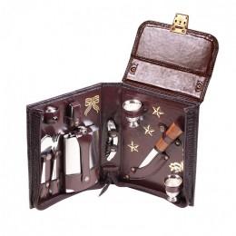 Набор в сумке-кейсе из натуральной кожи «Командир» (2 персоны) версия 2