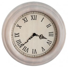 """Часы из массива настенные """"Лофт"""" (белые) d35 см"""