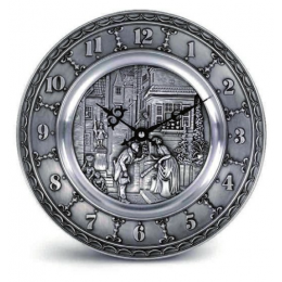 """Декоративные настенные часы из олова """"Spitzweg"""" d25см"""