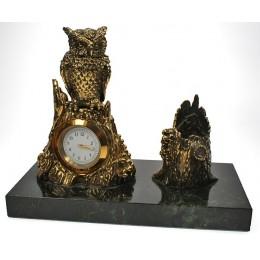 """Бронзовые настольные часы с письменным прибором """"Филин на пне"""" дл.19см"""