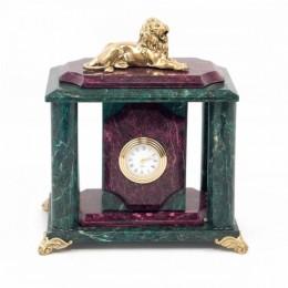 """Декоративные часы из змеевика """"Царь зверей"""", высота 19 см"""