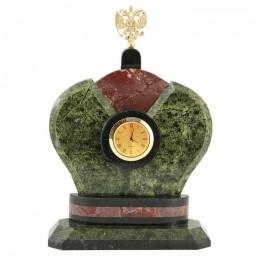 """Декоративные часы из змеевика """"Корона Монарха"""", высота 24 см"""