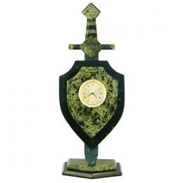 """Декоративные часы из змеевика """"Меч и щит"""", высота 30 см"""