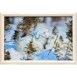 """Картина с кристаллами сваровски """"Белые медведи"""""""