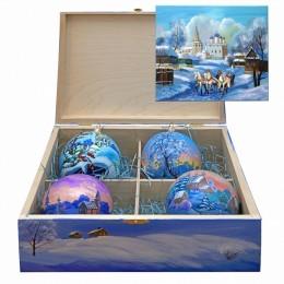 """Набор новогодних шариков с кристаллами Swarovski """"Новогодняя сказка"""", d.10см"""