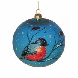 """Новогодний шарик с кристаллами Swarovski """"Снегирь"""" d.10см"""