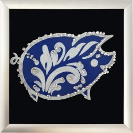 "Картина Swarovski ""Свинка"" серебро 10 х 10 см"