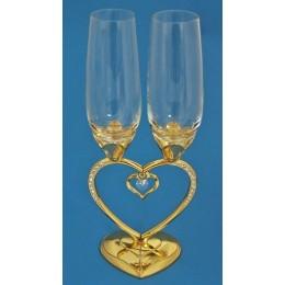 """Свадебные бокалы на ножке в виде сердца """"Love"""""""