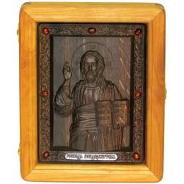 Подарочная икона Господь Вседержитель на мореном дубе
