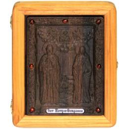 Подарочная икона Петр и Февронья на мореном дубе
