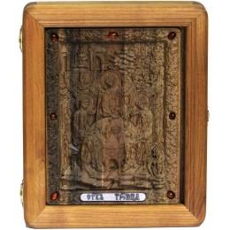 Подарочная резная икона Троица на мореном дубе