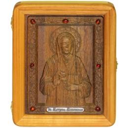 резная икона Блаженная старица Матрона Московская на морёном дубе в киоте из берёзы
