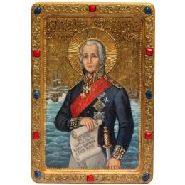 Живописная икона Святой праведный воин Феодор Адмирал (Ушаков) на кипарисе