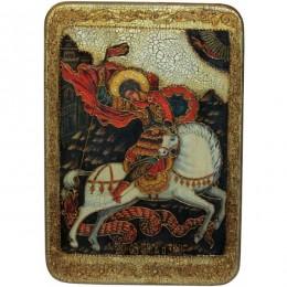 """Большая икона """"Чудо святого Георгия о змие"""" на мореном дубе"""