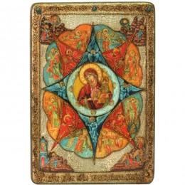 """Большая икона """"Образ Божией матери Неопалимая купина"""" на мореном дубе"""